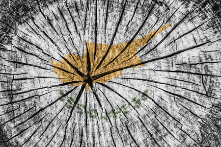 detachment: flag of  Cyprus on cracked wooden texture