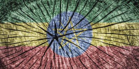detachment: Flag of Ethiopia  on cracked wooden texture