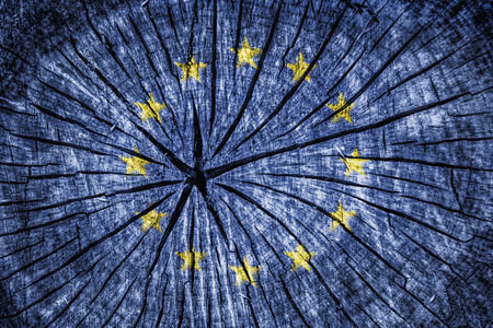 eec: flag of  the European Union on cracked wooden texture