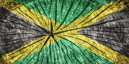 kingston: Flag of  Jamaica on cracked wooden texture