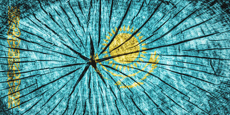 flag of Kazakhstan on cracked wooden texture photo