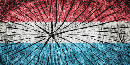 flag of Luxembourg  on cracked wooden texture