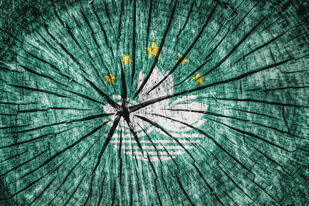 flag of  Macau on cracked wooden texture