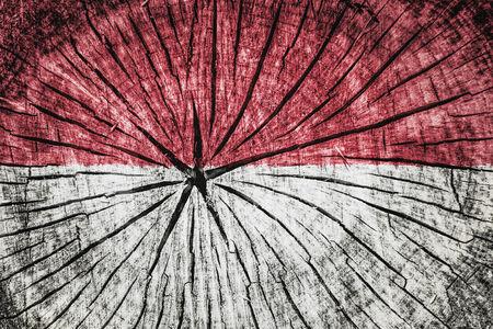 flag of Monaco on cracked wooden texture
