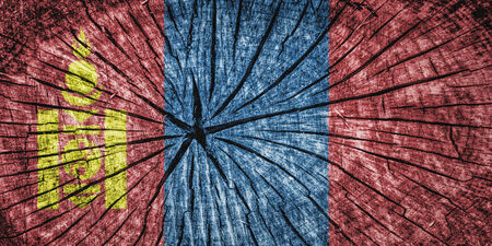 Flag of Mongolia  on cracked wooden texture photo