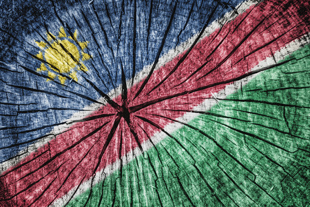flag of Namibia on cracked wooden texture Stock Photo