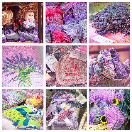 Provence market collage: Lavender for sell, South of France