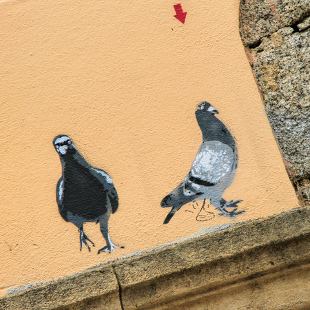 PROPRIANO, FRANCE - September12, 2013: Pigeons: Graffiti  painted  in Propriano, Corsica, France