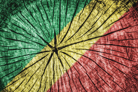 flag of the Republic of Congo on cracked wooden texture Stock Photo