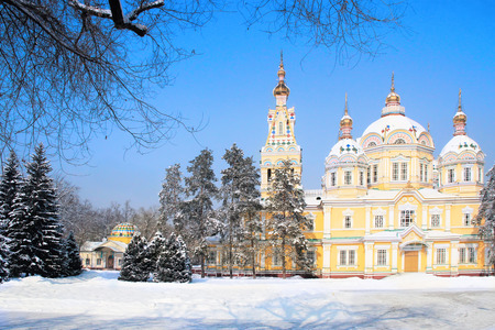 Russian Orthodox cathedral located in Panfilov Park in Almaty, Kazakhstan