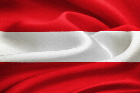 austrian flag: Flag of Austria  waving in the wind. Silk texture pattern