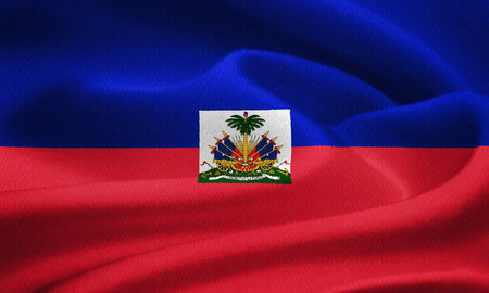 creole: Flag of Haiti waving in the wind. Silk texture pattern