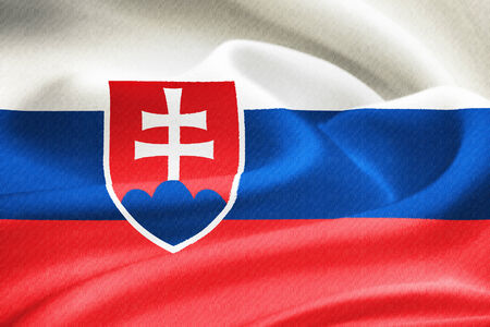 slovak republic: flag of Slovakia waving in the wind. Silk texture pattern Stock Photo