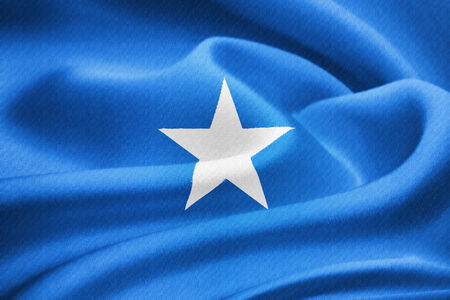 somalian flag: Flag of Somalia waving in the wind. Silk texture pattern
