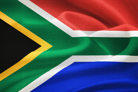 flag of the Republic of South Africa waving in the wind. Silk texture pattern