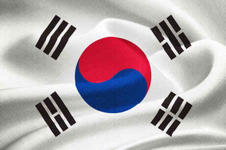 flag of South Korea  waving in the wind. Silk texture pattern photo