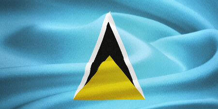 cerulean: flag of Saint Lucia waving in the wind. Silk texture pattern Stock Photo