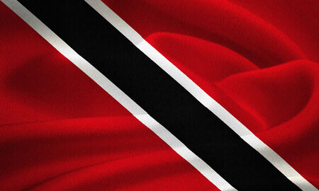 port of spain: flag of Trinidad and Tobago waving in the wind. Silk texture pattern