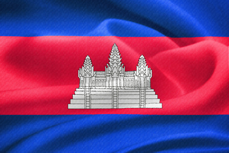 cambodian flag: Flag of Cambodia waving in the wind. Silk texture pattern