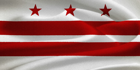 george washington: flag of the District of Columbia waving in the wind. Silk texture pattern