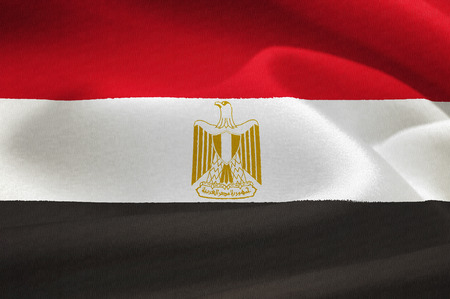 nile river:  flag of Egypt waving in the wind. Silk texture pattern
