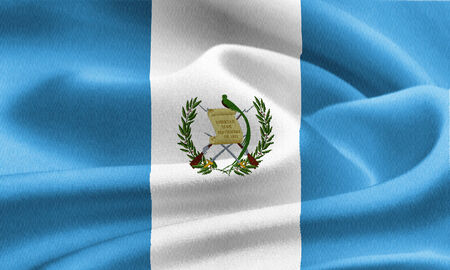 flag of Guatemala waving in the wind. Silk texture pattern photo