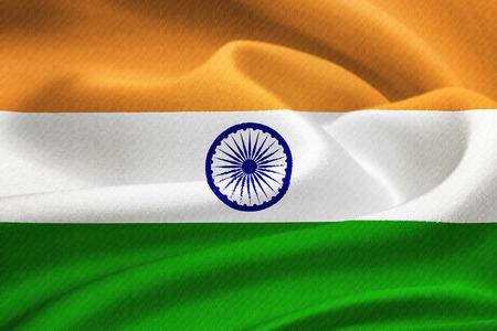 bandera blanca: Bandera de la India ondeando en el viento. Patr�n de textura de seda