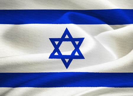flag of Israel waving in the wind. Silk texture pattern photo