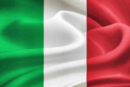 bandera italiana: bandera de Italia ondeando en el viento. Patrón de textura de seda