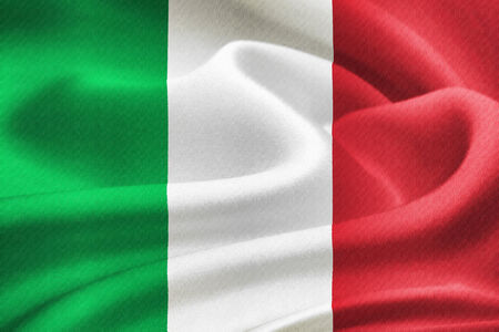 flag of Italy waving in the wind. Silk texture pattern