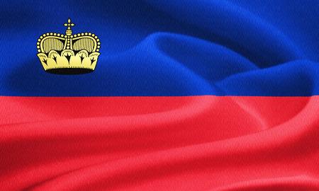 liechtenstein: Flag of Liechtenstein waving in the wind. Silk texture pattern Stock Photo