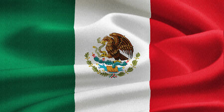 spanish flag: flag of Mexico waving in the wind. Silk texture pattern Stock Photo