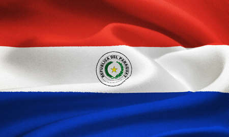 phrygian: flag of Paraguay waving in the wind. Silk texture pattern