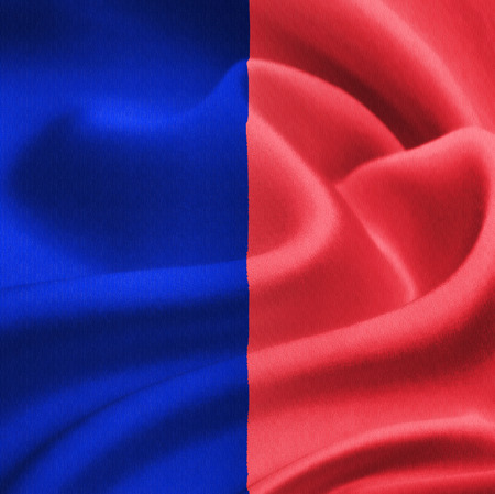 flag of Paris waving in the wind. Silk texture pattern photo
