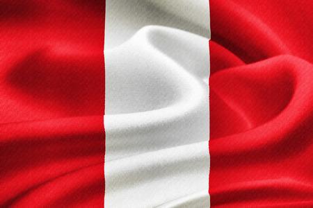 Flag of Peru waving in the wind. Silk texture pattern photo