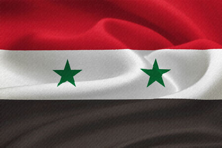 al assad: Flag of Syria waving in the wind. Silk texture pattern Stock Photo