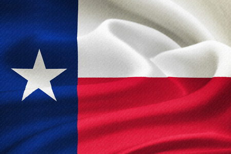 flag of the state of Texas waving in the wind. Silk texture pattern photo