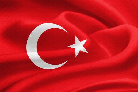 anatolian: Flag of Turkey waving in the wind. Silk texture pattern Stock Photo