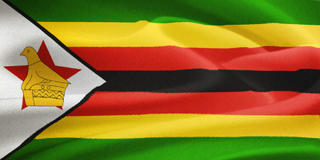 soapstone: flag of Zimbabwe waving in the wind. Silk texture pattern