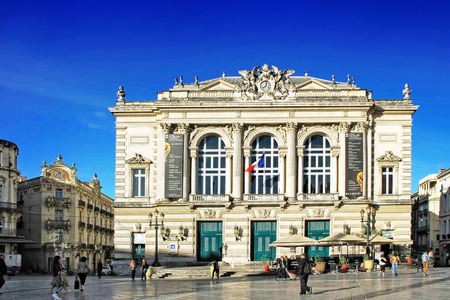 MONTPELLIER, FRANCE - MAY 27, 2014: National Opera theater of Montpellier. (Built in the Italian style in 1888 ) on May 27, 2014 in Montpellier, France Editorial