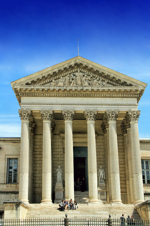 nostradamus: MONTPELLIER, FRANCE - MAY 27, 2014: Courthouse in the city of Montpellier, a city in southern France, which is the capital of the Languedoc-Roussillon, France on May 27, 2014 in Montpellier, France