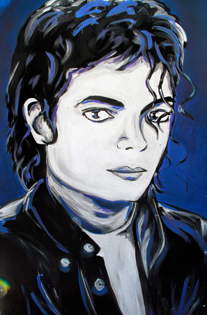 SETE, FRANCE - September 03, 2014:  21: Michael Jackson (Called the King of Pop) portrait graffiti on a wall of Sete, South of France.