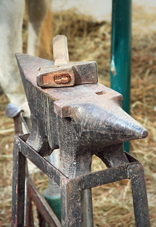 medieval blacksmith: Old anvil with hammer on a metal stump