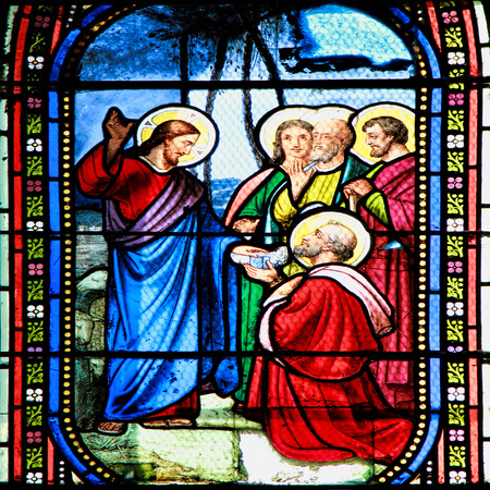 Scene of the Bible. Stained glass window in the Cathedral of Meze, South of France