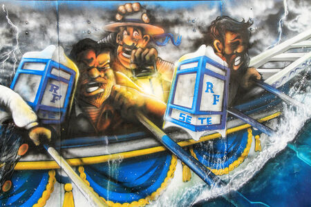 jousting: SETE, France - August 23, 2014: Water Jousting graffiti scene on the wall of Sete, south of France on August 23, 2014