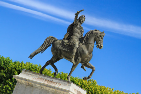 nostradamus: Statue of Louis XIV on horseback in the  Garden of Peyrou, Montpellier, France,