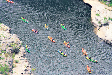 kayaks in Ardeche Gorge (Canion), river of Ardeche, south of France