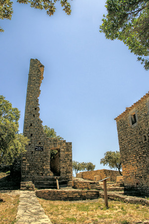 Ruins of the tower in Gicon castle, ancient signal tower, Provence, South of France