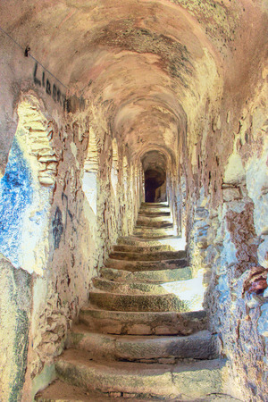 Staircase in the Citadel of Bonifacio - Picturesque?Capital of Corsica, France