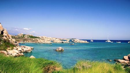 View of Uninhabited  Lavezzi island with stone formations near Bonifacio, Corsica, France